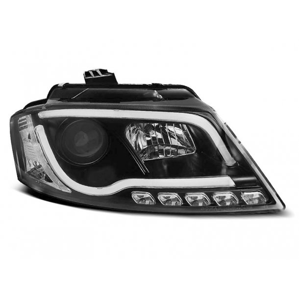 AUDI A3 8P 2008-2012 BLACK TUBE LIGHT TRUE DRIVELIGHTS FACELIFT
